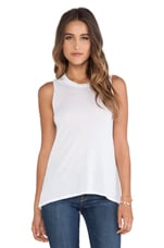 High-Low Muscle Tank in White
