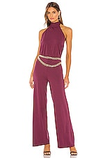 Bobi Draped Modal Jersey Jumpsuit in Fig