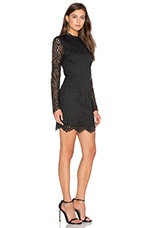 BLACK Lace Crochet Overlay Long Sleeve Crew Neck Mini Dress en Noir