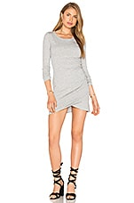 Supreme Jersey Long Sleeve Ruched Mini Dress en Gris Chiné