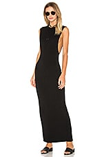 Jersey Sleeveless Back Slit Maxi Dress en Noir