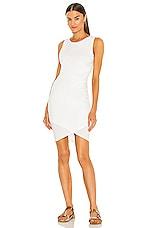 Bobi Supreme Jersey Ruched Bodycon Dress in White