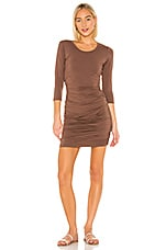 Bobi Draped Modal Jersey Dress in Coffee