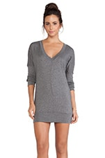 Long Sleeve Jersey V-Neck Dress in Dark Heather