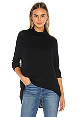 Bobi Draped Rib Cowl Neck Sweater in Black