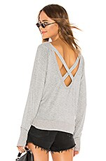Bobi Terry Cross Back Sweatshirt in Heather Grey