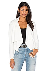Knit Boucle Long Sleeve Front Draped Blazer en Blanc