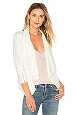 BLACK Boucle Moto Blazer in White