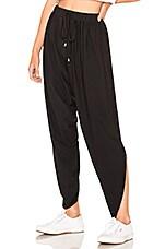 Bobi Draped Modal Jersey Asymmetrical Hem Pant in Black