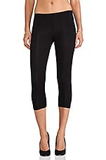 Cotton Lycra Cropped Leggings in Black