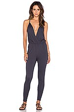 Modal Jersey Wrap Front Jumpsuit in Dark Cloud