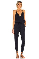 Bobi Supreme Jersey Tied Waist V Neck Jumpsuit in Passport
