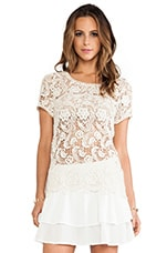 Crochet Lace Tee in Ivory