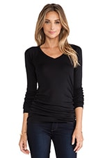 V Neck Long Sleeve Tee in Black
