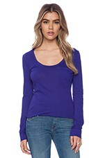 Light Weight Jersey Long Sleeve Pocket Tee in Blue Jaz