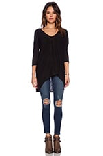 Cotton Slub Dolman 3/4 Sleeve Tunic in Black