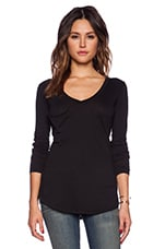 Light Weight Jersey Long Sleeve V Neck Pocket Tee in Black