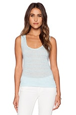 Striped Linen Tank in White & Bubble Blue