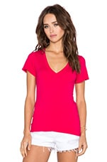 Pima Cotton V Neck Tee in Strawberry