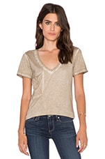 Cold Water Vintage Wash V Neck Pocket Tee in Tea