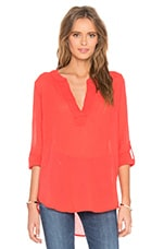 Gauze V Neck 3/4 Sleeve Top en Rouge Rétro