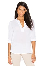 Gauze V Neck 3/4 Sleeve Top en Blanc
