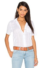 Plaid Woven Stripe Waist Tie Short Sleeve Top en Blanc