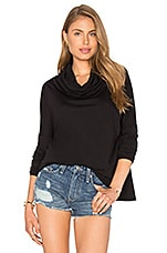 Light Weight Jersey Cowl Neck Long Sleeve Top en Noir