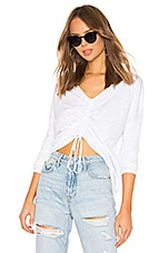 Bobi Slubbed Jersey Ruched Top in White
