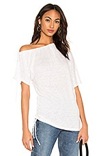 Bobi Linen Jersey Ruched Top in White