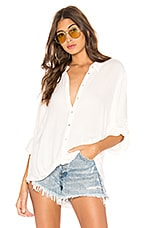Bobi Beach Crepe Button Down in Ivory