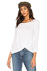 Bobi Light Weight Jersey Twist Front Tee in White