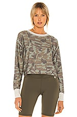 Body Language Rori Reversible Pullover in Olive Camo, Metal Camo & Heather