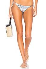 Bond Eye Rose Shirred Satin Tie Side Bikini Bottom in Silver Fox