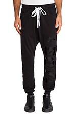 Drop Crotch Jogger in Black &  Black