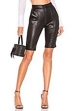 BROGNANO Faux Leather Biker Short in Black