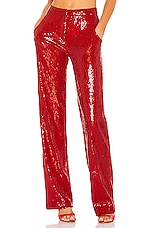 BROGNANO Tailored Sequin Pant in Red