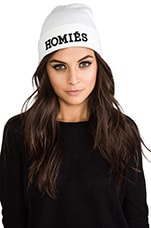 Homies Beanie in White/Black