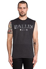 Ballin Muscle Tee in Charcoal & Silver