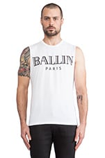 Ballin Muscle Tee in White & Black
