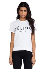 Feline Tee in White/Black