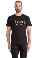 T-shirt Feline en Noir/Doré