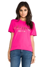 T-shirt Feline en Rose/Or Brillant