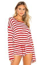 BEACH RIOT Beach Sweater in Red & White Stripe