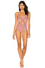 BEACH RIOT Karissa One Piece in Red & White Stripe