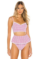 BEACH RIOT x V. Chapman Iris Bikini Top in Lurex Gingham