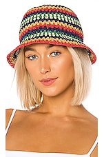 Brixton Essex Raffia Bucket Hat in Multi
