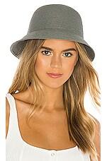 Brixton Essex Straw Bucket Hat in Blue Stone