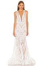 Bronx and Banco Ester V Neck Gown in White
