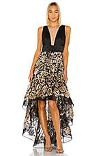 Bronx and Banco Louise Gown in Black, Gold & Silver